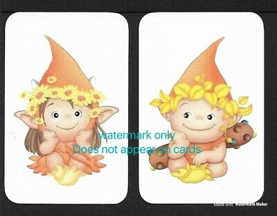 Swap Cards One Pair. Pixie Elf. Blank Backed Modern Cards, NOT WIDES