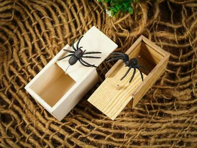 Funny Prank Spider Wooden Scare Box Joke Gag Toy Kids Trick Adult in Case S4D9