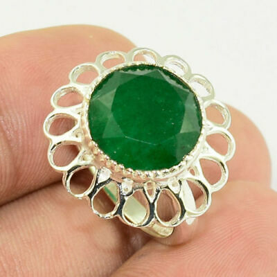 Solid 925 Sterling Silver Faceted Emerald Gemstone Jewelry Ring Us 6