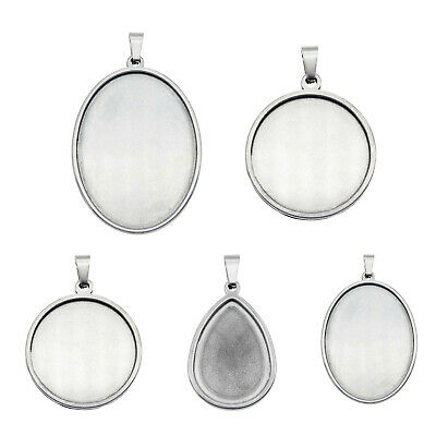 5 pcs Silver Stainless Steel Base Settings Mixed Kinds Bezel Frames Pendants