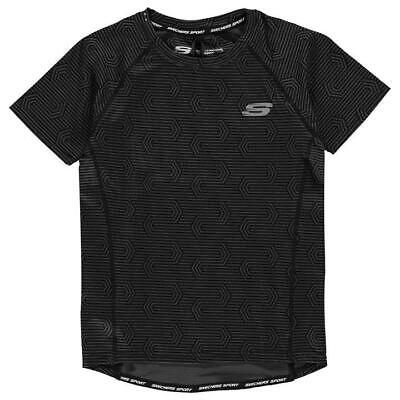 Skechers Poly Tshirt Tee Black Grey AOP SS Juniors Boys Size 10-11 Years *REF19