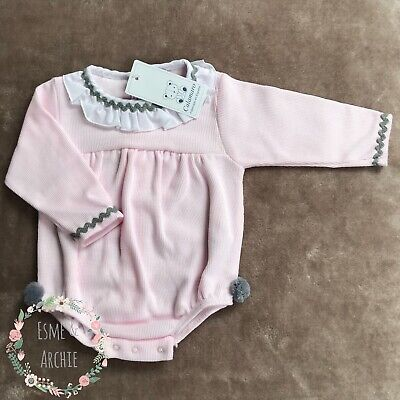 Spanish Style Baby Girl / Baby Boy 3 Piece Knitted Jam Pants, Top and Hat Set