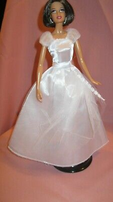 Barbie Clothes Dress Gown - White Satin With Netting (Doll Not Included)