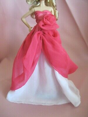 Barbie Clothes Dress Gown - Hot Pink And White Chiffon (Doll Not Included)