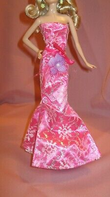 Barbie Clothes Dress Gown - Pink Slinky With Lace And Belt  (Doll Not Included)