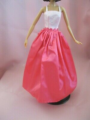 Barbie Clothes Dress Gown - Two Pinks Floral Waistband (Doll Not Included)