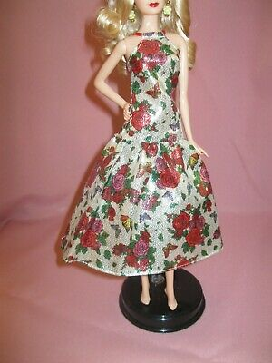 Barbie Clothes Dress Gown - Silver Floral  (Doll Not Included)