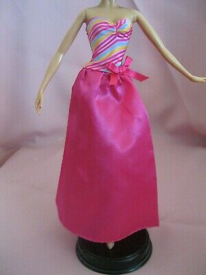 Barbie Clothes Dress Gown - Pink Satin With Multi Colour (Doll Not Included)
