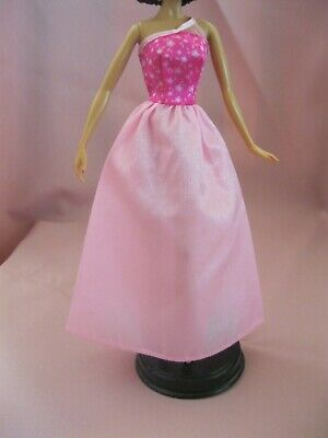 Barbie Clothes Dress Gown - Pink Satin Floral Bodice  (Doll Not Included)