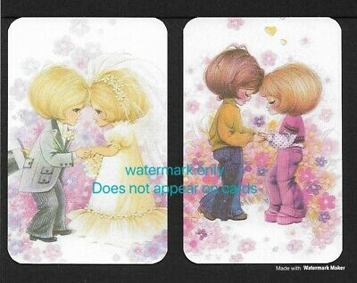 Swap Cards One Pair. Cute Couple. Blank Backed Modern Cards, NOT WIDES