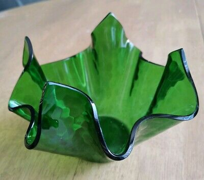 Vintage/Retro. Unusual, Dark Green Glass, Handkerchief Vase.