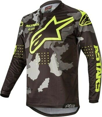 2020 Alpinestars Racer TACTICAL Black Grey Camo Yellow Motocross Jersey Adult