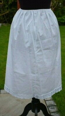White cotton Half Slip underskirt Broidery Anglaise Vintage Made in England
