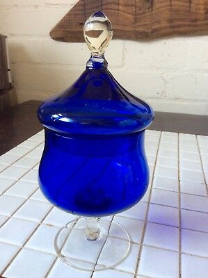 Cobalt Blue Glass And Lid