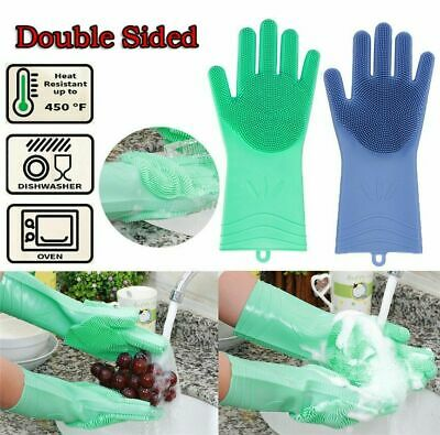 Magic Silicone Rubber Dish Washing Glove Scrubber Home Scrubbing GloveS Cle O7S5