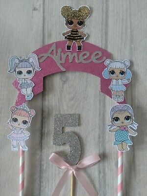 Personalised LOL inspired glitter birthday cake topper surprise bunting doll