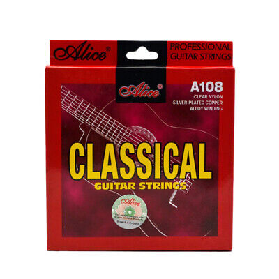 1X(Alice Classical Guitar Strings Set 6-String Classic Guitar Clear Nylon St E01