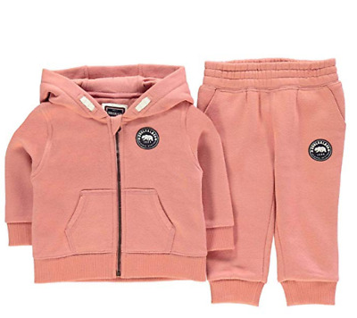 Soul Cal & Co Girls Pink Signature Zip Track Set Pink UK Size 4-5 Years *REF47