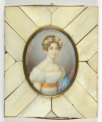 """19th century beauty"", French miniature, early 20th century"
