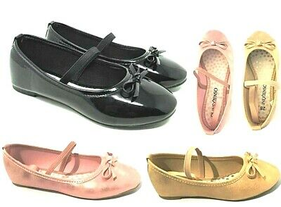 Girls Black School Formal Party Wedding Shoes Strap Flat Casual Pumps