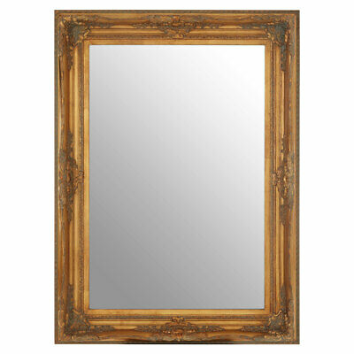 Baroque Wall Mirror, Rectangle Antique Gold, Mirrored Glass, Wood Retro Style