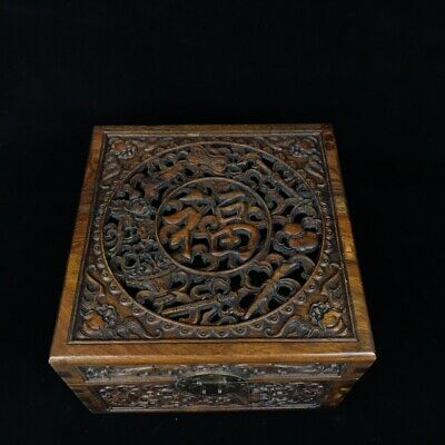 "11"" Chinese old antique huanghuali wood handcarved bat Fu word square box"