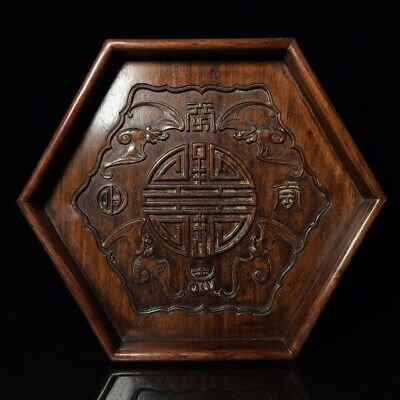 "14"" Chinese old Antique huanghuali wood handcarved bat pattern tea plate D2"