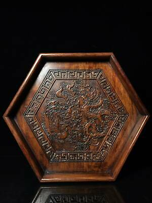 """14"""" Chinese old Antique huanghuali wood handcarved Dragon Phoenix tea plate D4"""