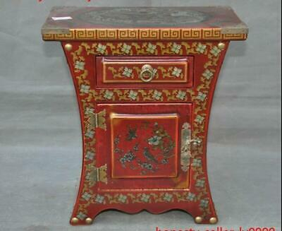 Old China lacquerware wood Dragon Phoenix Drawings Storage drawer Box table desk