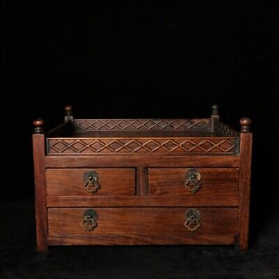 """13"""" Chinese old antique huanghuali wood handcarved two-ply Cabinets statue"""