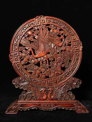 "15"" Chinese old Antique huanghuali wood handcarved Pine crane screen statue D3"
