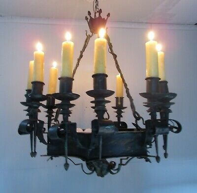 Antique Vintage Grand Gothic Black Ring Chandelier Candle /Electric 6 Light