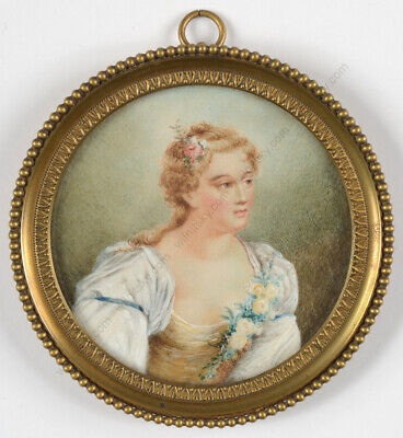 """Portrait of a 18th century lady"", fine miniature, 19th century"