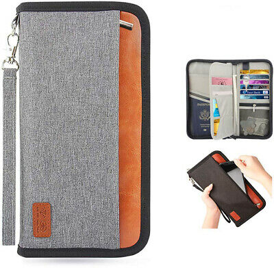 Passport Holder RFID Blocking Travel Wallet Family Waterproof Nylon Fabric