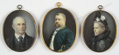 """""""Danish high-ranking official and his parents"""", 3 fine miniatures,late 19th c."""