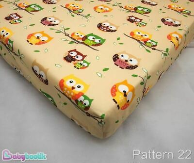 Nursery Baby Cotton Fitted Sheet for 140x70 Cot - Owls Beige