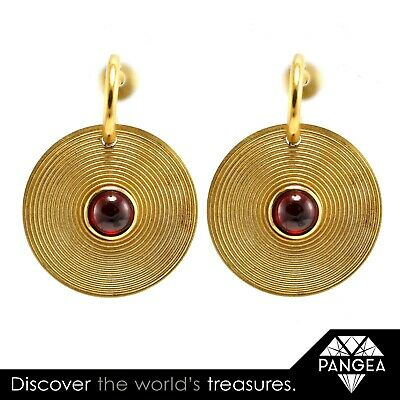 Vintage Estate Solid 18k Yellow Gold Cabochon Garnet Dangle Record Earrings