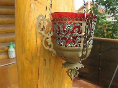 Russian,Large Lamp for Icon,Lampada Orthodox Antique old bronze with red Glass R