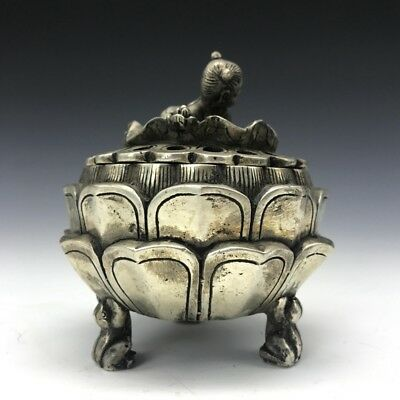 China Tibet silver lotus pure hand-carved censer child statue