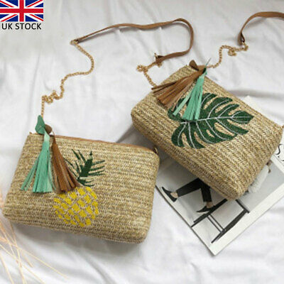 Women Summer Beach Tote Handbag Ladies Rattan Straw Wicker Crossbody Bag Basket