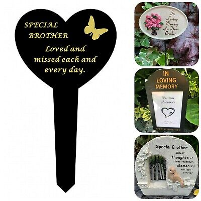 Brother Memorial Heart Plaque Frame Stick Stake Flower Vase Grave Candle Item(B)