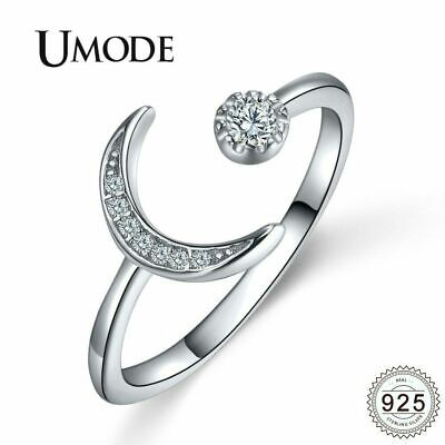 UMODE Moon 925 Silver Sterling Rings Open Adjustable Cubic Zirconia Rings Rose