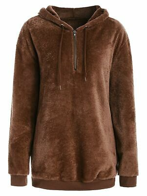 Side Pockets Faux Fur Hoodie with Zipper