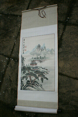 Chinese Landscape Ink Watercolour Hand Painting on Silk Rice Paper Scroll-Signed