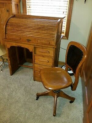 Antique Solid Oak 36 inch Roll Top Desk and Original Bankers Chair