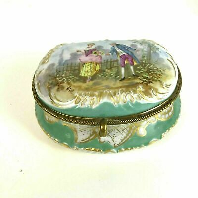 Antique 19th Century Dresden Porcelain Covered Box Hand Painted Cross Mark