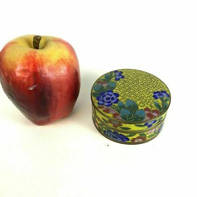 Antique Chinese Cloisonne Round Covered Box W/ Blue Flowers