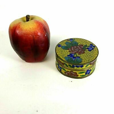 Antique Chinese Cloisonne Round Covered Box W/ Flowers