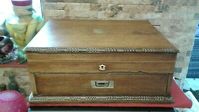 Antique Oak Document Cabinet +key  Box  VGC