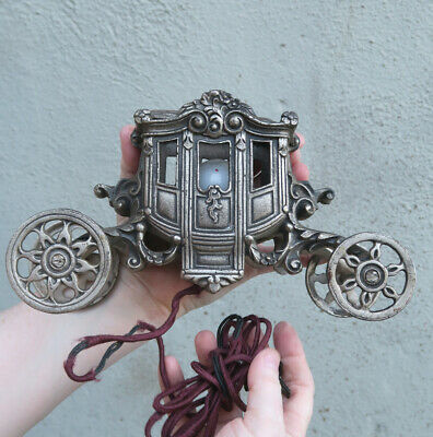 Vintage boudoir lamp Spelter metal Carriage BRASS plated wheels roll antique